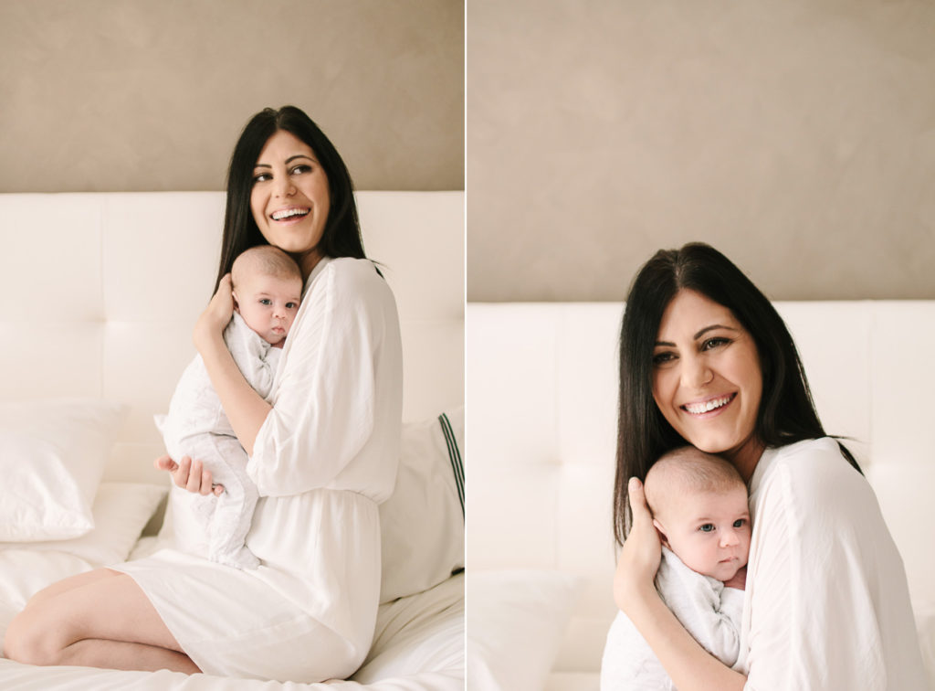 Mother and newborn in home photo shoot perth
